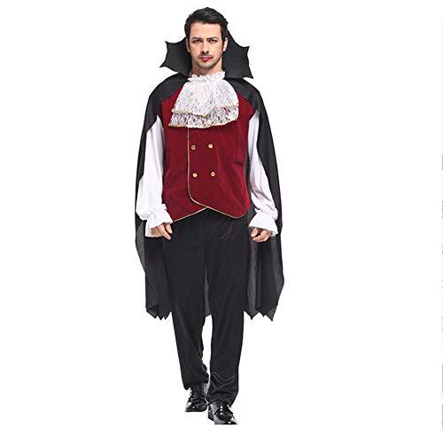 Kostüm Masquerade Männlich - AINI Halloween Cosplay Männlicher Vampir Teufel Halloween Party Outfit, Devil Cloak Masquerade, Oberteile + Hosen + Umhang-M