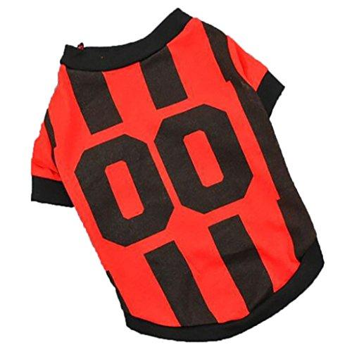 erthome Hundemantel, Haustier Hunde Sommer Weste Sport Fußball T-shirt Kleidung Kostüm Hund Trikot (M, Rot) (Fußball Kostüm Für Hunde)