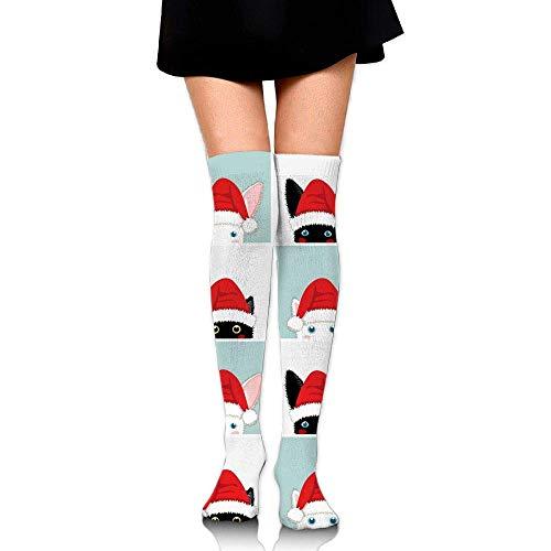 White Mens Kostüm Rabbit - KLYDH Black White Rabbit Cat Compression Socks,Knee High Compression Sock Women & Men - Best Running,Athletic Sports,Crossfit,Flight Travel,Long 25.6 inches/65cm