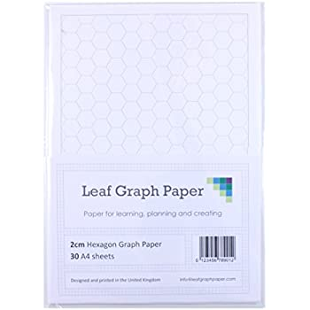 A Hexagon Graph Paper Mm Cm   LooseLeaf Sheets  Grey Grid