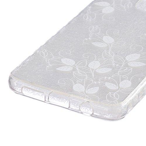 Linvei Hülle für iPhone 5/iPhone SE aus TPU Silikon mit Schöne Muster Design - Schutzhülle Cover in Transparent Weiß Blumen-Totem #4