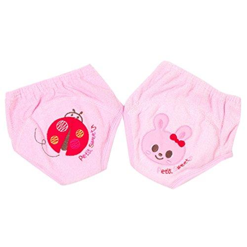 JEELINBORE 5er Pack Baby Mädchen Jungen Lernwindel Trainerhosen Unterwäsche zum Sauberwerden Gestickt Töpfchen Trainer Windelhosen, für 1-3 Jahre (Pink (2PCS), 90)