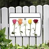 Briefkasten motivX Edelstahl bunt Zeitungsfach Design Wandbriefkasten mit Motiv - Gereihte Rosen