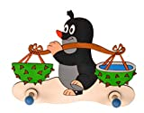 Garderobehaken - der kleine Maulwurf - Holz Kinder 2 Haken Kinderzimmer Garderobe Kleiderhaken Wandhaken