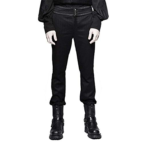 BIRAN Punk Mens Steampunk Pantalones A Rayas Autumn Cotton Gothic Pants and Winther Único Casual Pantalones Pantalones Pantalones (Color : Negro, Size : XL)