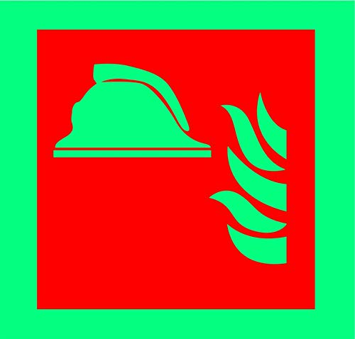 INDIGOS UG - Sticker - Safety - Warning - Collection of fire-Fighting Equipment Symbol - 200mm x 200mm - Decal for Office/Company / School/Hotel