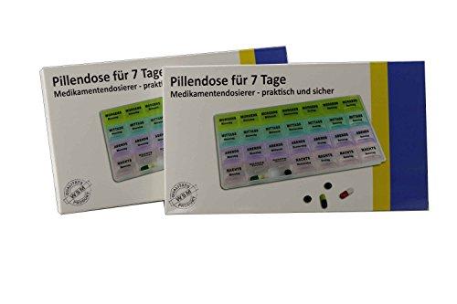 RMB 2er Set Pillendose, Medikamentendosierer für 7 Tage