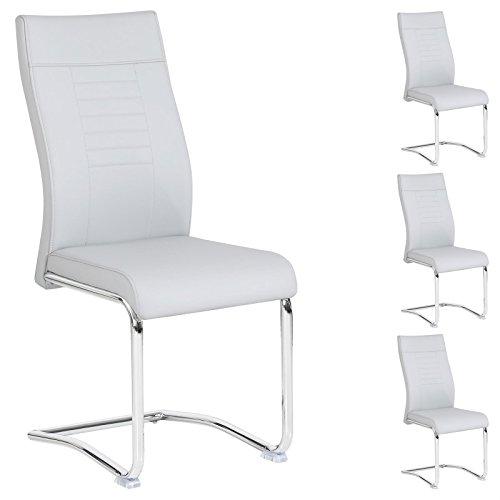 CARO-Möbel 4er Set Esszimmerstuhl Küchenstuhl Schwingstuhl Loano, Gestell in Chrom, Bezug aus Lederimitat in grau