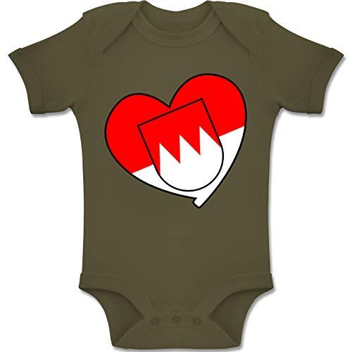 Shirtracer Karneval und Fasching Baby - Franken Wappen Herz - 12-18 Monate - Olivgrün - BZ10 - Baby Body Kurzarm Jungen Mädchen
