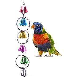 Colorido campanas de timbre Swing juguete para pájaros Papagayo africano Greys Guacamayo Budgies periquito Cockatiels cacatúa Conure Agapornis Finch jaula Perca