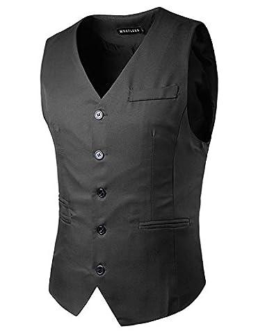 YCHENG Herren Weste Anzug Vintage Casual Business Stilvoll Vest Slim fit, Grau, M