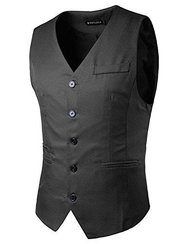 YCHENG Elegante Gilet da Uomo Slim Fit del Panciotto della Maglia Business Casual grigio 1