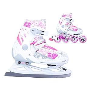 2in1 Schlittschuhe Inliner Pinkola ABEC5 pink weiß Gr. 31-34, 35-38, 39-42 Verstellbare Mädchen Skates