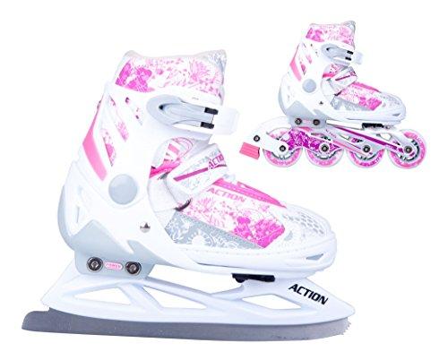 2in1 Schlittschuhe Inliner Pinkola ABEC5 pink weiß Gr. 31-34, 35-38, 39-42 verstellbare Mädchen Skates (31-34)