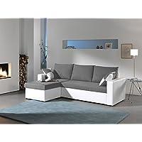 Bestmobilier Arizona - Canapé d angle convertible réversible 4 places - 225 x 145 x 85cm - Blanc/Gris