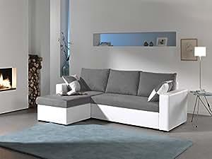 Bestmobilier Arizona - Canapé D'angle Convertible Réversible 4 Places - 225 x 145 x 85cm - Blanc/Gris