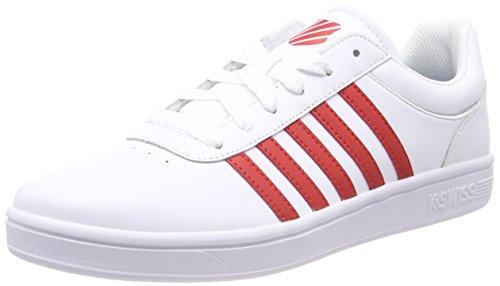 K-Swiss Court Cheswick, Zapatillas para Hombre, Blanco (White/Red 164), 44 EU