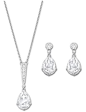 Swarovski Damen-Schmuckset Halskette + Ohrringe Edelstahl Glas transparent - 5062148