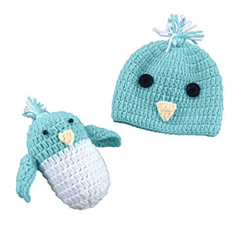 JOYKK Baby Fotografie Requisiten Kleinkinder Jungen Mädchen Häkeln Kostüm Outfits Hut Kleiner Vogel Set 0-3 Monate - Kleiner (Junge Vogel Kostüm)