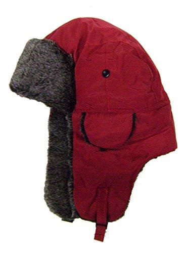 modestone-warm-trapper-bomber-hat-faux-fur-trim-o-s-red