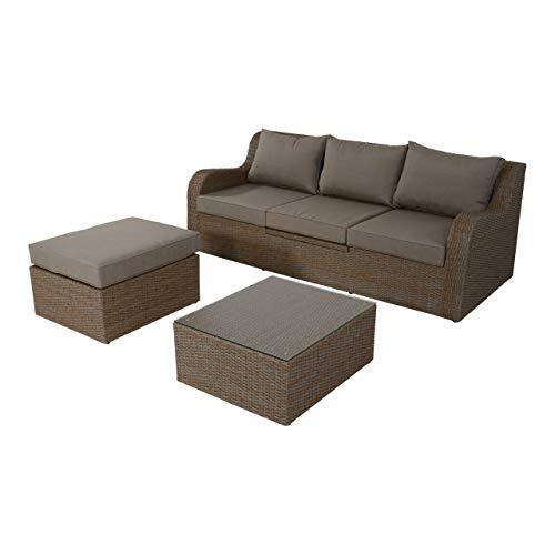 lifestyle4living Gartenbank 3 Sitzer aus Polyrattan Geflecht Taupe inkl. Kissen. Die Multifunktionsbank ist wetterfest, Gartenliege, für Garten, Terrasse und Balkon.