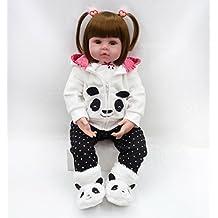 MAIDEDOLL Reborn Muñecas de bebé de Vinilo de Silicona Suave Realista Recién Panda Coat Negro Zapatos