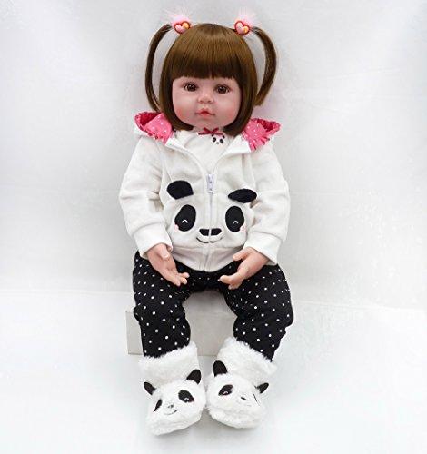 MAIDEDOLL Reborn Bambola Molle del Bambino di Simulazione del Silicone Vinile Magnetica Bocca Bella Realistica Sveglia della Ragazza del Ragazzo Bambini Giocattolo Reborn Bambola (19inch Doll)