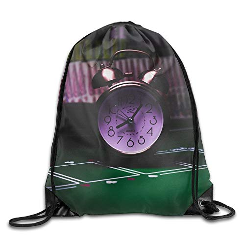 (FAFANIQ Silver Bell Clock On Casino Table Drawstring Bag for Traveling Or Shopping Casual Daypacks School Bags)
