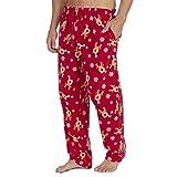 Style It Up Herren Pyjama Pj Hose, Schottenkaro, einfarbig, weich, warm, Fleece Gr. L, Rot Rentier