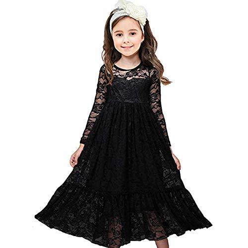 CQDY Prinzessin Spitzenkleid für Mädchen Schwarz Hochzeit Blumen Kleid Partykleid mit großen Bogen (Für Und Weiß-kleider Mädchen Schwarz)