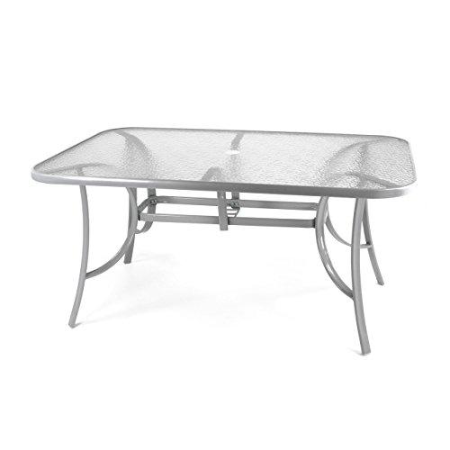 Nexos 7-teiliges Gartenmöbel-Set – Gartengarnitur Sitzgruppe Sitzgarnitur aus Gartenstühlen & Esstisch (Glasplatte: klar mit Struktur) – Aluminium Kunststoff Glas – schwarz