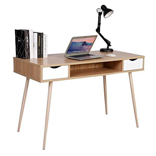 WOLTU Schreibtisch TSG19hei Computertisch Bürotisch Arbeitstisch PC Laptop Tisch, in Melamin, mit 2 Schubladen und 1 offenen Fach, Gestell aus Stahl, 120x58x77cm(BxTxH), Holz, Eiche