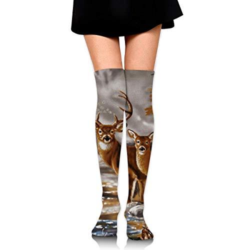 XCVNBX Real Tree Camouflage Deer Knee High Graduated Compression Socks for Unisex - Best Medical, Nursing, Travel & Flight Socks - Running & Fitness - Flight 5 Real