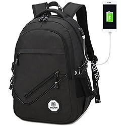 Laptop Rucksack mit USB Port Vintage Unisex Schulranzen , Business Reise Schulrucksack, Laptoprucksack Passend für bis zu 15.6 Zoll-Gaming Laptops für Dell, Asus, MSI (Schwarz)