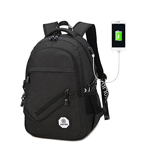 Rucksäcke Damen Herren, Freizeit Schulranzen mit USB-Ladeschnittstelle, Geschäft Daypacks Backpack für Mädchen Männer Teenager Jungen