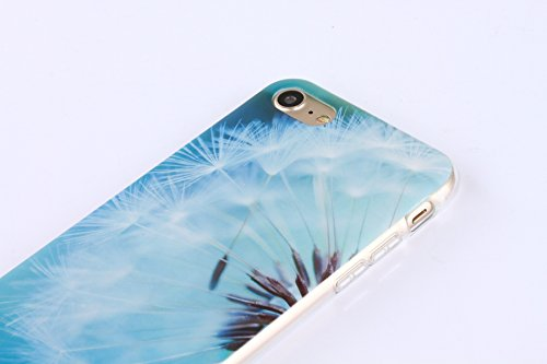 iPhone 6 Plus Hülle,iPhone 6S Plus Case,iPhone 6S Plus Silikon Cover - Felfy Ultra Dünne Slim Full Body Transparent Soft Gel TPU Silikon Rahmen mit Plastic Back Case Schöne Bunte Muster Design Case Rü Löwenzahn
