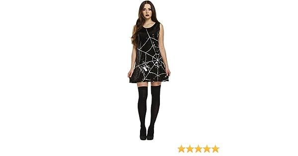 Black Witch Halloween spooky Fancy dress Glow In The Dark Spider Web Tights