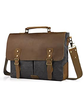 [Gesponsert]SMRITI Vintage 16 Zoll Leder Umhängetasche Messenger bag für Notebook Dicker Ordner