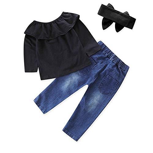 LABIUO Kinderkleidung,Mädchens Tau Schulter Tops+Jeans Babykleidung Baby Mädchen Kostüm Set(Schwarz,3T) (Kinder-kostüm-3t)