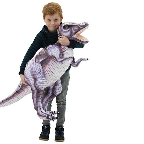 Sweety Toys 10943 XXL Plüsch  Dinosaurier 128 cm grau-lila Tyrannosaurus