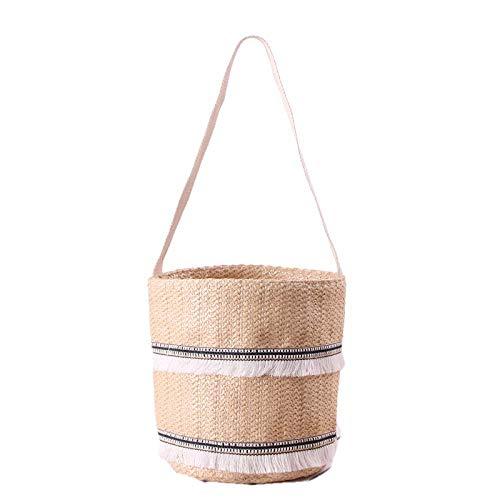 fonxoy-backpack Strandtasche, Outdoor-Strand-Strohsack Single Shoulder Handschellen Dual-Use-Strohsack Spitze Gesäumt Strandtasche Gewebt Eimer Handtasche - Spitze Gesäumt