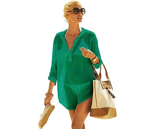 Damen Strandkleid aus Baumwolle mit reizvollem V-Ausschnitt und sexy Häkellook über den Bikini oder als sexy Sommer-Bluse zu tragen (CP-CT) L Light Green -