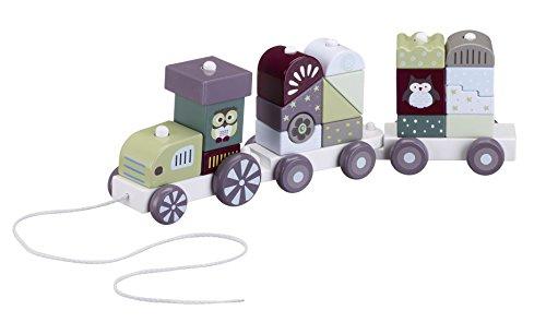 Kids Concept- Holzspielzeug Zug Wagons mit Holzklötzen, 46x9x10 cm, Mehrfarbig