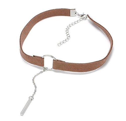 Aienid Damen Choker Halskette Braun Breite Kaschmir Band Strippe Kropfband, Silber Kleine Quader Anhänger (Trachten Schmuck Zum Verkauf)