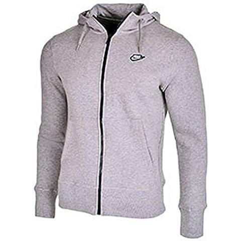 Nike De Hombre Con Capucha Forro Polar Con Cremallera Completa Sudadera Chaqueta De Chándal (Gris Marga) - algodón, gris, 100% algodón 79% algodón 21% poliéster, Hombre, Chica, Gris Marga