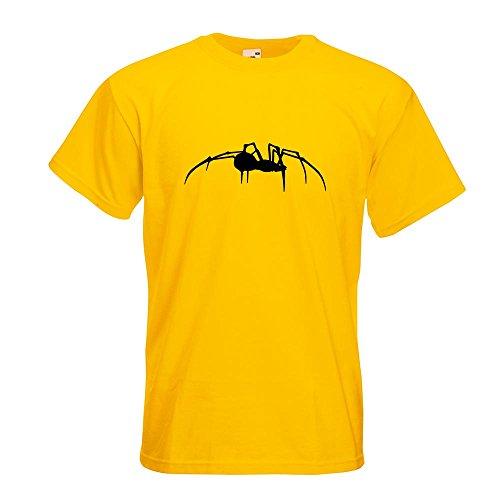 KIWISTAR - Spinne Spider Silhouette T-Shirt in 15 verschiedenen Farben - Herren Funshirt bedruckt Design Sprüche Spruch Motive Oberteil Baumwolle Print Größe S M L XL XXL Gelb