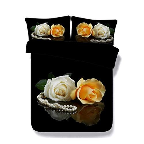 Floral Soft Black Bettwäsche Set Blossom Tröster Bettbezug Garten Blume Bettbezug Schmetterling Bettdecke Frauen Mädchen Bunte Rose Bettdecke (Farbe : Black Coverlet, größe : Cal King) -