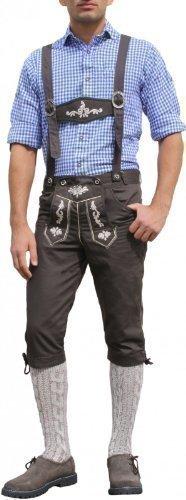 Trachten Kniebundhose Oktoberfest Jeans Hose kostüme mit Hosenträgern Braun, (Kostüme Oktoberfest)