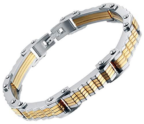 AnazoZ Edelstahl Armband Für Herren Kette Armband Gold Silber Rectangle Biker Kette ()