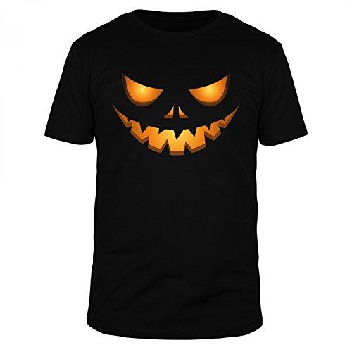FabTee Halloween Kürbis Kopf Gesicht - Fun Organic T-Shirt Herren - Verschiedene Farben, Größen S-3XL, Größe:M;Farbe:Schwarz (Kürbis-kopf T-shirt)